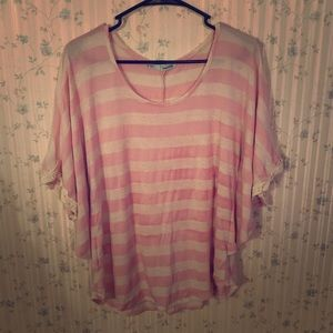 Pink striped poncho top